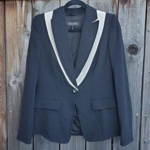 ESCADA Black White Contrast Single Button Blazer